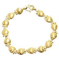 Vintage 24K Yellow Gold Oriental Strawberry Bracelet