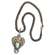Sterling Silver Moon Stone Aquamarine  Fluorite And Amethyst Heart Necklace