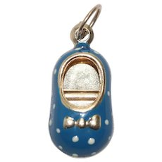 14 KT Yellow Gold Blue Polka Dots Enamel Baby Shoe Charm