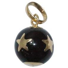 Italian 14 KT Yellow Gold Black Enamel Star Ball Charm