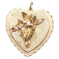 Vintage 3D Angel Heart Pendent
