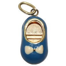 14 KT Yellow Gold Blue and White Enamel Baby Shoe Charm