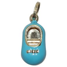 14 KT Yellow Gold Baby Blue Baby Shoe Charm
