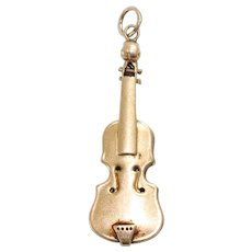 Vintage 14K Yellow Gold 3D Violin Charm