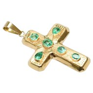 18K Yellow Gold Colombian Emerald Cross Pendent