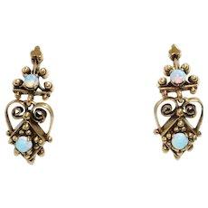 Vintage 14K Yellow Gold Opal Earrings