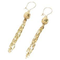 Vintage 14K Yellow Gold Dangling Chandelier Ball Drop Earrings