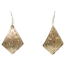 14K Gold Rhombus Earrings