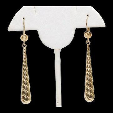 14K Yellow Gold Swirl Tear Drop Earrings