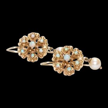 Vintage 14K Yellow Gold Dangling Opal Earrings