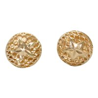 Vintage 14K Yellow Gold Mesh Star Earrings