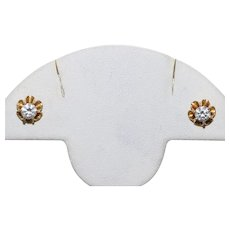 14 KT Yellow Gold Prong Set Cubic Zirconia Stud Earrings
