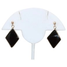 Vintage 14 KT Yellow Gold Black Onyx Earrings