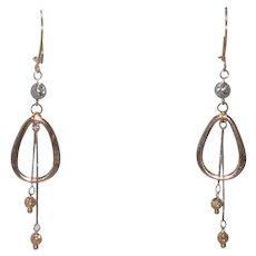 14 KT Two Toned Gold Dangle Earrings