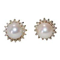 14K Yellow Gold .46 CT Diamond Halo Cultured Pearl Earrings