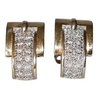14K Yellow Gold Diamond Belt Buckle Earrings