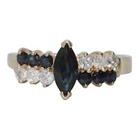 14K Yellow Gold Double Rowed Marquise Sapphire Diamond Ring