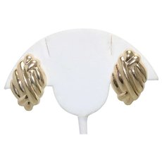 14K Yellow Gold Polished Entwined Earrings