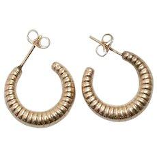 14K Yellow Gold Polished Shrimp Hoop Earrings