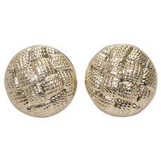 14K Yellow Gold Basket Weave Earrings