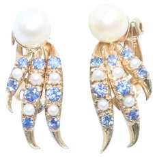 Vintage 14K Yellow Gold Cultured Pearl Sapphire Clip On Earrings