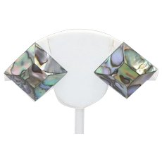 Vintage Costume Mother Of Pearl Clip On Earrings