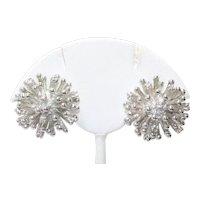 Vintage Costume Cubic Zirconia Sunburst Earrings