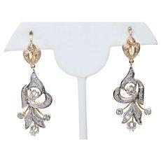 14KT Two Tone 1.32CT Single Cut Diamond Earrings