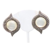 Sterling Silver Mother of Pearl Marcasite Clip On Earrings