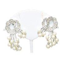 Vintage Cubic Zirconia Pearl Clip On Earrings