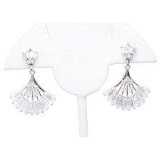Sterling Silver Cubic Zirconia Fan Earrings