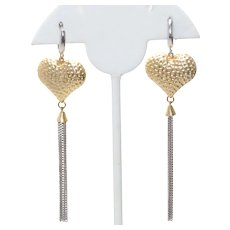 Vintage 14KT Two Tone Gold Heart Curb Chain Earrings