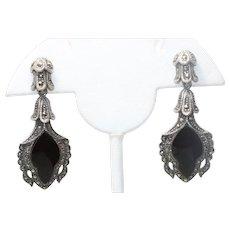 Vintage Sterling Silver Flat Black Onyx Marcasite Earrings