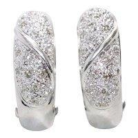 14K White Gold .45 CT Diamond Pave Earrings