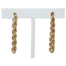 Vintage 14 KT Yellow Gold Rope Earrings