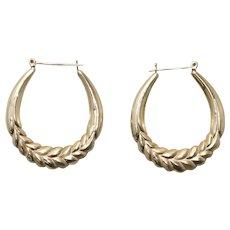 Vintage 14 KT Yellow Gold Hoop Leaf Design Earrings