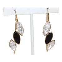 Vintage 14 KT Yellow Gold Black Onyx and Cubic Zirconia Earrings