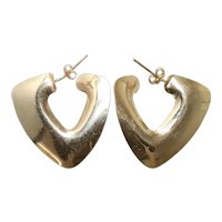 Vintage 14 KT Yellow Gold Triangle Earrings
