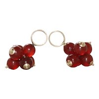 Vintage 14 KT Yellow Gold Agate Ball Earring Charm