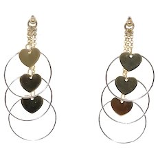 14 KT Two Tone Earrings With Hearts and Hoops