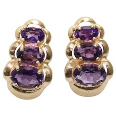 14 KT Yellow Gold Earrings With 3.0 CT Amethyst
