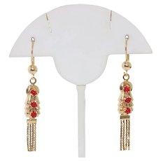 14K Gold Red Corral Tassel Earrings