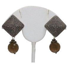 Vintage Sterling Silver Smokey Topaz Clip-on Earrings