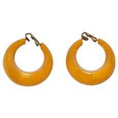 Vintage Bakelite Amber Clip-On Hoop Earrings