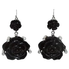 Vintage Black Rose Dangle Earrings