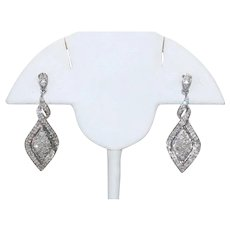 Vintage Sterling Silver .72 CT Diamond Earrings