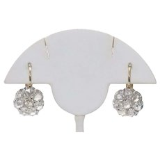 14KT Two Toned Prong Set Rose Cut Diamond Earrings