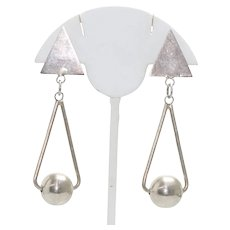 Vintage Sterling Silver Ball Shape And Triangular Earrings