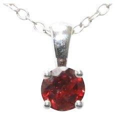 Sterling Silver Prong Set Garnet Necklace