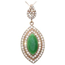 Sterling Silver Gold Overlay Cubic Zirconia Marquise Cut Green Agate Necklace